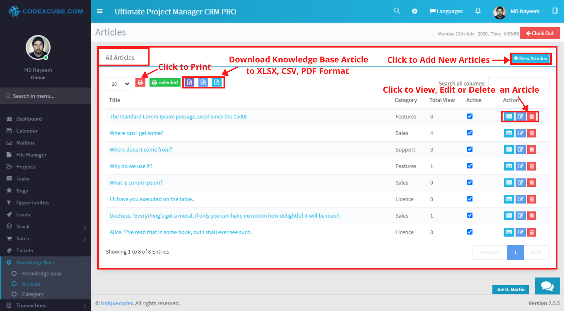 Knowledge Base Articles
